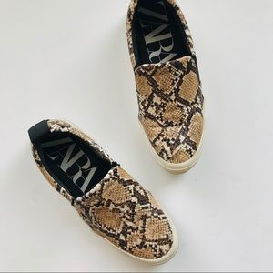 Zara snakeskin slip on sneakers